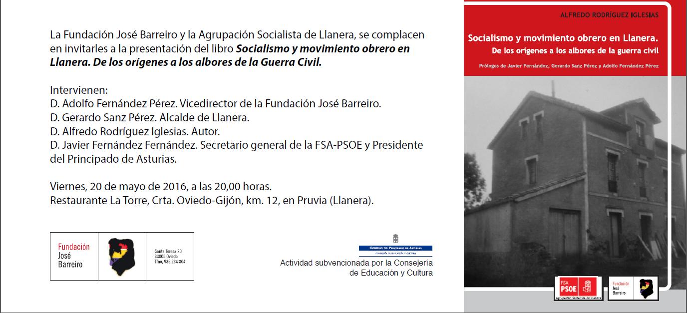 """Presentación del libro """"Socialismo y movimiento obrero en Llanera. De los orígenes a los albores de la Guerra Civil""""."""