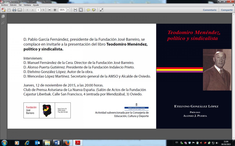 """12-11-2015. Presentación del libro """"Teodomiro Menéndez, Político y sindicalista"""". Club de Prensa Asturiana de La Nueva España"""