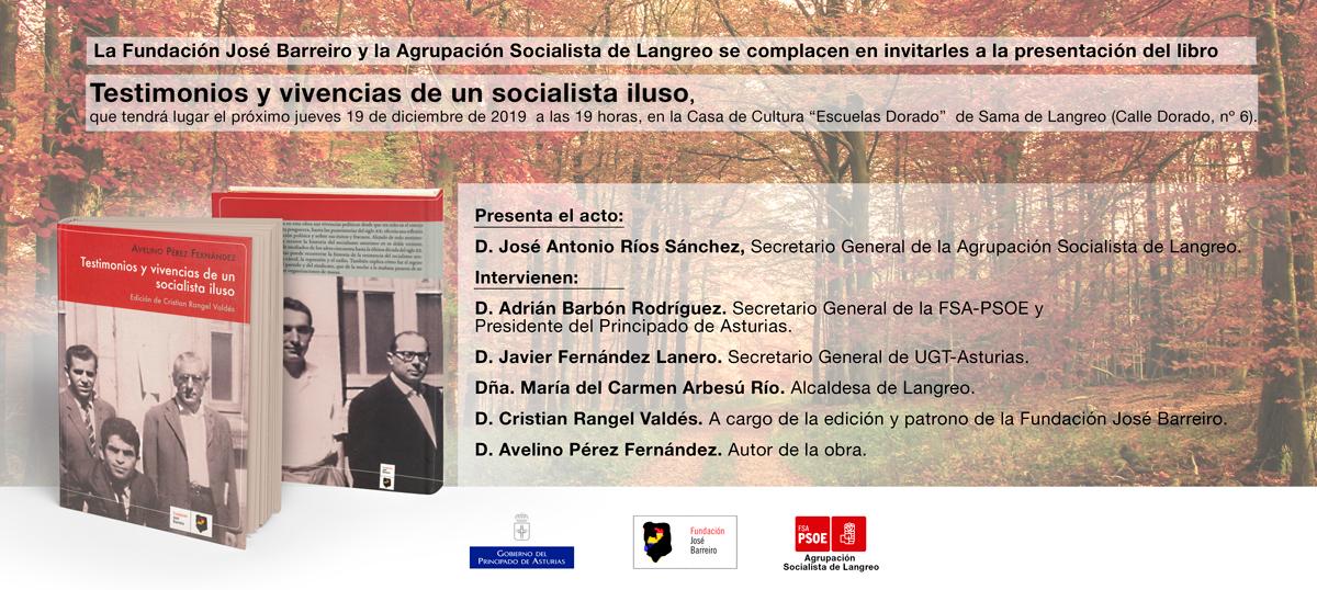 Presentación del libro «Memorias de un socialista iluso». Casa de Cultura «Escuelas Dorado», Sama de Langreo.