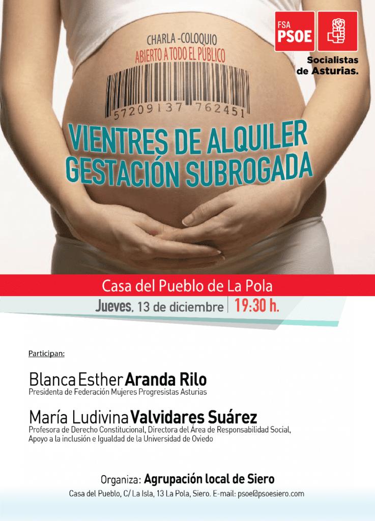 """Charla-coloquio: """"Vientres de alquiler. Gestación subrogada"""" @ Casa del Pueblo de Pola de Siero"""