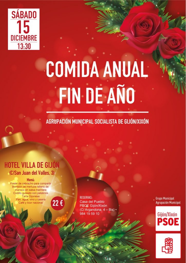 Gijón - Comida anual FIN DE AÑO @ Hotel Villa de Gijón