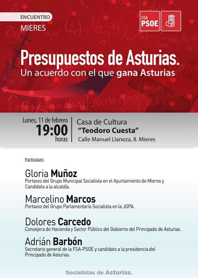 """Encuentro: """"PRESUPUESTOS DE ASTURIAS. Un acuerdo con el que gana Asturias"""" @ Casa de Cultura """"Teodoro Cuesta"""""""