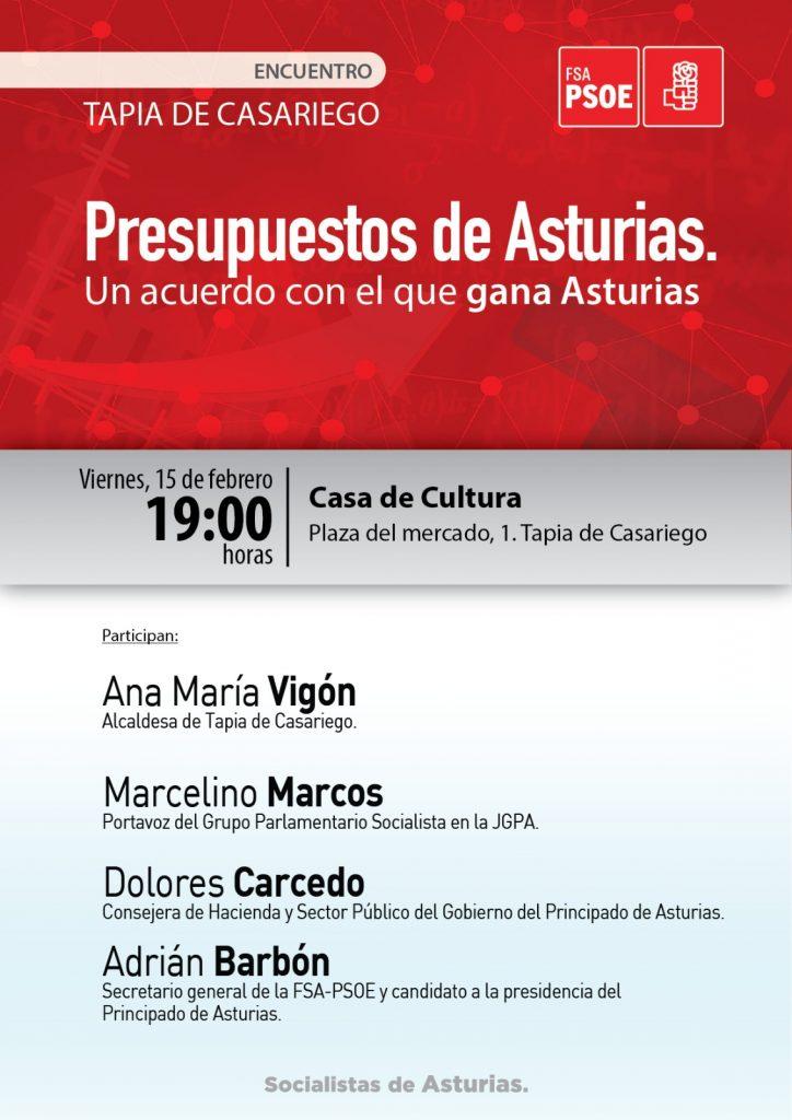 """Encuentro: """"PRESUPUESTOS DE ASTURIAS. Un acuerdo con el que gana Asturias"""" @ Casa de Cultura de Tapia de Casariego"""