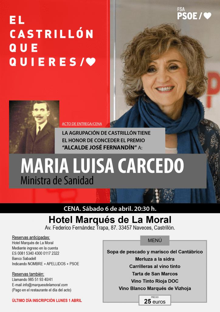 """Entrega del Premio """"Alcalde José Fernandín"""" a María Luisa Carcedo Roces @ Hotel Marqués de La Moral"""
