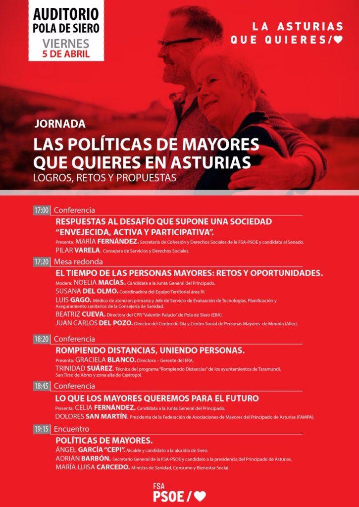 Jornada: LAS POLÍTICAS DE MAYORES QUE QUIERES EN ASTURIAS. Logros, retos y propuestas @ Auditorio de Pola de Siero