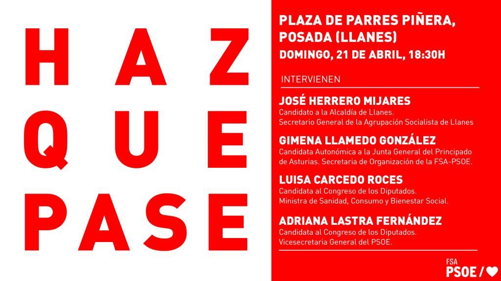 Mitin: ADRIANA LASTRA FERNÁNDEZ, LUISA CARCEDO ROCES, GIMENA LLAMEDO GONZÁLEZ y JOSÉ HERRERO MIJARES @ Plaza de Parres Piñera