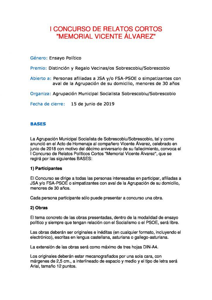 """I Concurso de Relatos Cortos """"Memorial Vicente Álvarez"""". Bases"""