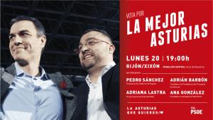 Pedro Sánchez y Adrián Barbón en Gijón