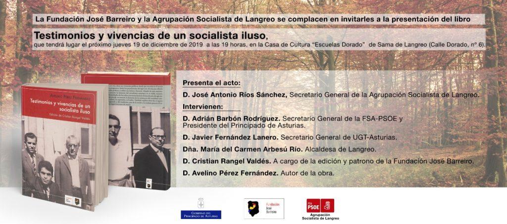 """Presentación del libro """"Testimonios y vivencias de un socialista iluso"""" de Avelino Pérez Fernández @ Casa de cultura """"Escuelas Dorado"""""""