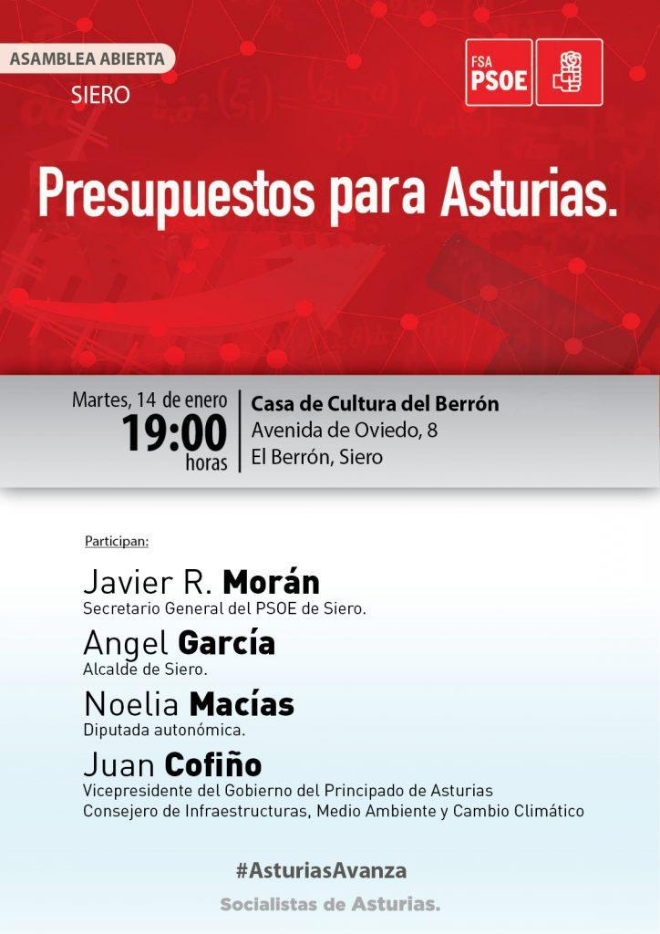 SIERO - Asamblea abierta: PRESUPUESTOS PARA ASTURIAS @ Casa de Cultura de El Berrón