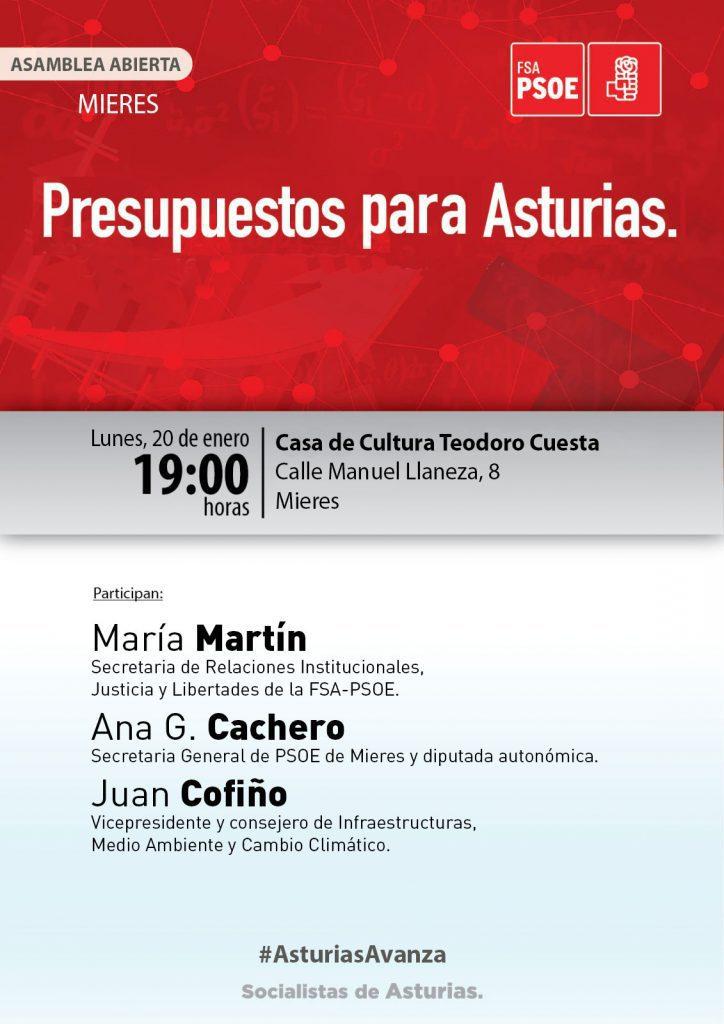 MIERES - Asamblea abierta: PRESUPUESTOS PARA ASTURIAS @ Casa de Cultura Teodoro Cuesta