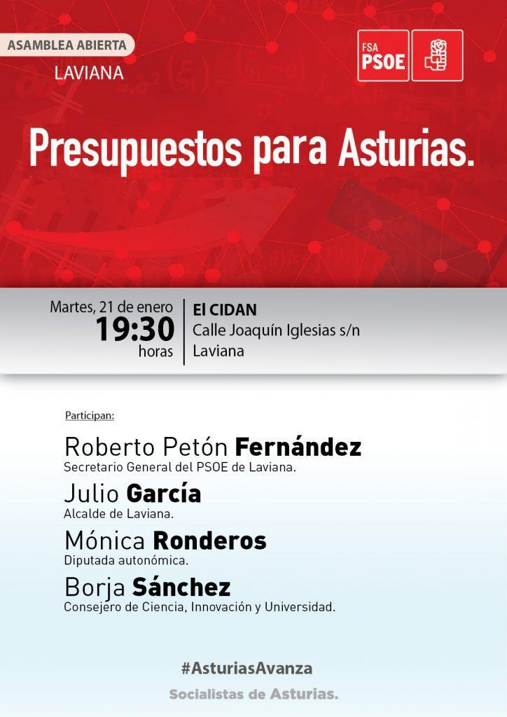 LAVIANA - Asamblea abierta: PRESUPUESTOS PARA ASTURIAS @ El CIDAN