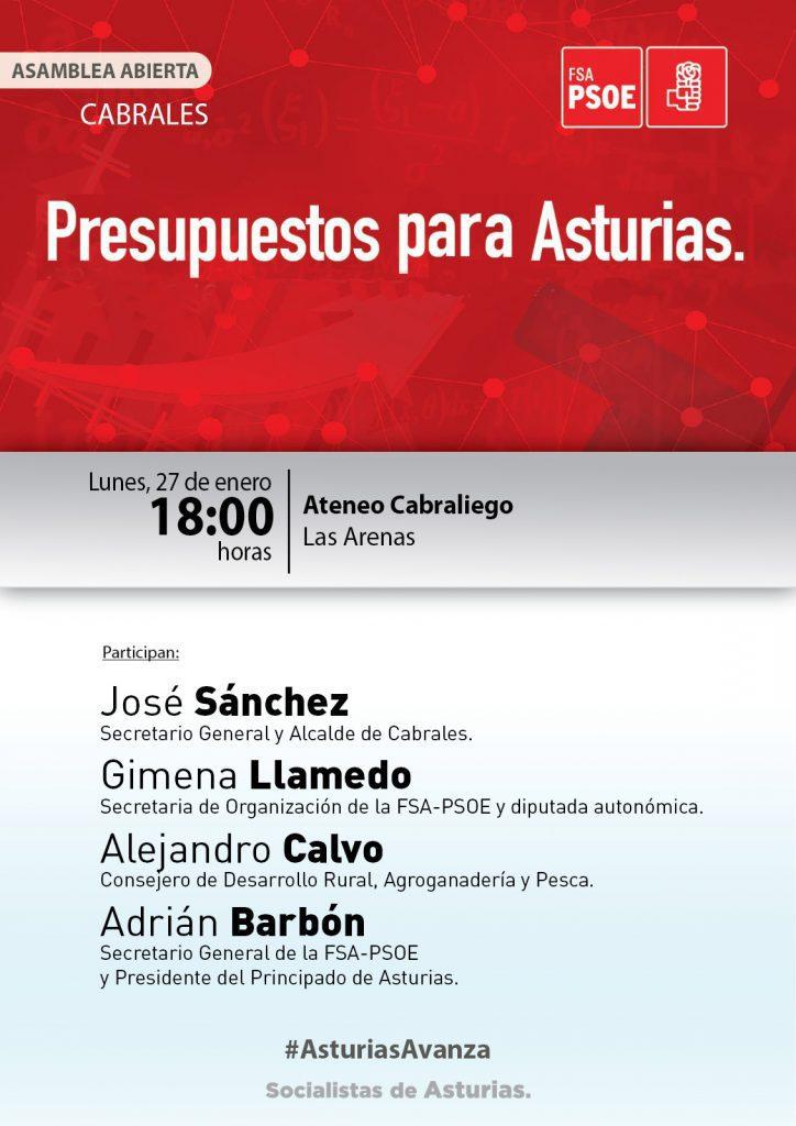 ADRIÁN BARBÓN en CABRALES - Asamblea abierta: PRESUPUESTOS PARA ASTURIAS @ Ateneo Cabraliego