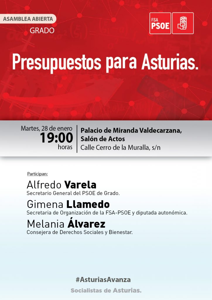 GRADO - Asamblea abierta: PRESUPUESTOS PARA ASTURIAS @ Salón de actos del Palacio de Miranda Valdecarzana